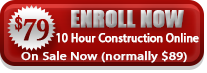 Button to enroll in OSHA 10 online for construction